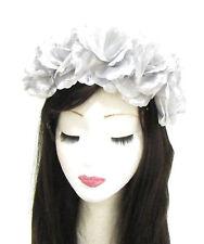 Large Silver Rose Flower Headband Halloween Sugar Skull Garland Hair Crown 785