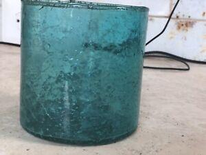 """Turquoise Wavy Glass Candle Holder/Vase 3 1/2""""x3 1/2""""."""