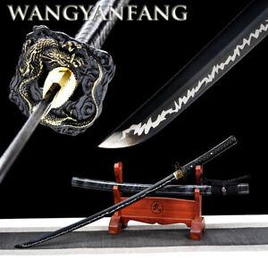 Japanese Katana manganese steel black Blade lightning pattern samurai sword