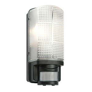 MOTION Outdoor E27 Bulkhead - Movement Sensor PIR - Wall Light - Black - IP44