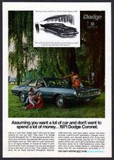1971 DODGE Coronet Brougham Vintage Original Print AD Blue car photo family park