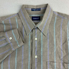 Gant Button Up Shirt Mens 16-35 Brown Stripe Long Sleeve Casual