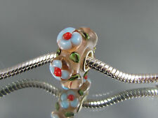 SINGLE SILVER CORE MURANO FLORAL GLASS BEAD EURO STYLE CHARM BRACELETS #MB 210
