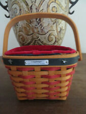 # 232 Longaberger Basket Small With Handle Red Green With Stars Plastic Insert