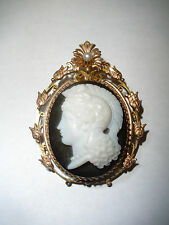 EXQUISITE 14K GOLD ANTIQUE VICTORIAN JET CAMEO WARRIOR GLADIATOR PENDANT BROOCH