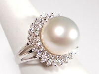 12.7mm white South Sea pearl ring,diamonds,solid 14k white gold