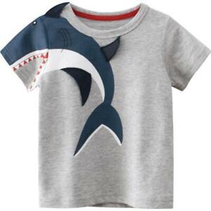 Baby Kids Children Boys Girls Relief on Clothes Short Sleeve Summer T shirt 2-7y