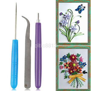 3PCS/Pack Paper Quilling Tools Origami DIY Needles Slotted Cardmaking Hand Craft