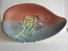 Art Deco - Very Large Shorter & Son Ltd Grey & Coral Embossed Lily Leaf Plate