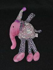 Peluche doudou éléphant DPAM bébé Du Pareil Au Même mauve grelot 23 cm TTBE