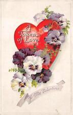 VALENTINE HOLIDAY TOKEN OF LOVE HEART FLOWERS EMBOSSED POSTCARD (c. 1909)