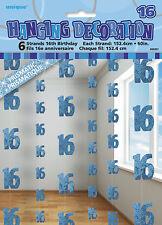 **16TH BIRTHDAY CELEBRATIONS**   Blue & Silver Glitz Hanging String Decorations!