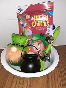 St. Patrick's Day Gnome Plush Doll Cereal Bowl Bundle Leprechaun Lucky Charms