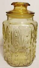 VINTAGE AMBER IMPERIAL GLASS ATTERBURY SCROLL CANISTER, STORAGE OR COOKIE JAR.