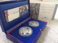 2004 Entente Cordiale £5 Silver Proof 2 Coin Set, Boxed COA