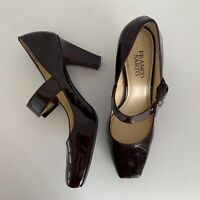 Franco Sarto Size 8 Tenor Merlot Burgundy Patent Leather Mary Jane Heels Shoes