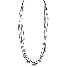 32 inch 4 Strand Leather & Freshwater Natural Pearl Necklace