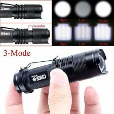 Cree Q5 3Mode 400lm Adj. LED Flashlight, Rechargeable 3.7v Batt and Charger U.S.