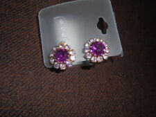 true Vntg 50s Costume Jewellery pink crystal clips clip on Earrings round