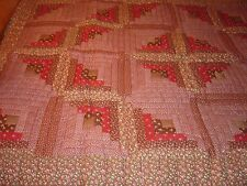 "LANCASTER, PA AMISH TWIN SIZE BROWN LOG CABIN QUILT SIZE 52""- 74"""