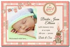 Baby Girl Photo Personalised Birth Announcement