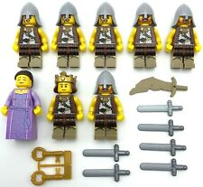 LEGO 8 NEW CASTLE MINIFIGURES KNIGHTS KINGDOMS QUEEN KING SWORDS WEAPONS MORE
