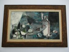MID CENTURY MODERN OIL PAINTING CUBIST CUBISM STILL LIFE EXPRESSIONISM ABSTRACT