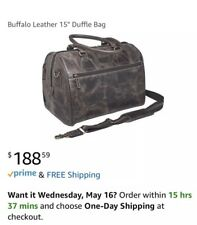 "Genuine Buffalo Distressed Leather - 15"" Duffel Bag, Dark Brown CZY-03 New W Tag"