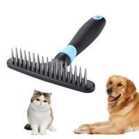 Double Row Stainless Steel Pins Dog Rake Deshedding Dematting Brush Comb