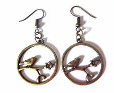 HYPOALLERGENIC BRONZE BIRD EARRINGS french hook sparrow branch blossom flower M4