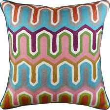 """Geometric Seamless Modern Decorative Pillow Cover Handembroidered Wool 20x20"""""""