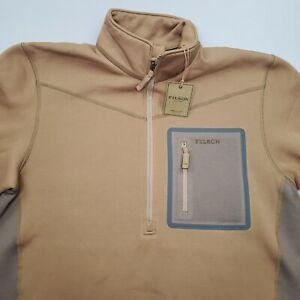 Filson Shuksan Half Zip Fleece Field Olive Dark Tan Stone Brown Size XS, M $155