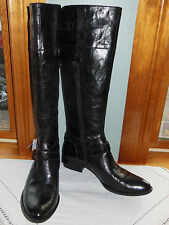 NEW! BORN CROWN TALL LEATHER BUCKLE BOOTS, SIZE 12 M, BLACK DISTRESSED, STYLISH