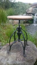 Solid Cast Iron Industrial Bar Stool Timber Seat Swivel Adjustable Height