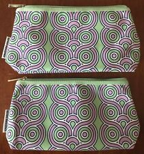 Lot of (2) Clinique Jonathan Adler Purple & Green Zippered Makeup Bags/Cases