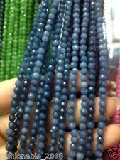 AAA+++ 4mm Faceted Natural Brazilian Aquamarine Gemstone Round Jade Beads 15'