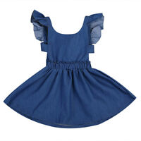 US Baby Girl Kid Toddler Summer Denim Jeans Tutu Short Mini Dress Skirt Outfit