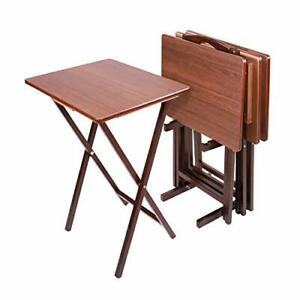 Folding Tray Table 4-Pack Espresso