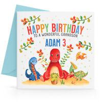 Personalised Birthday Card Boys Dinosaur 1st 2nd 3rd 4th 5th Son Grandson Nephew