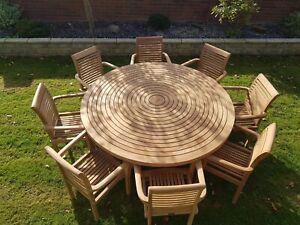 Teak Garden Furniture Round Table Lazy Susan 8 Stacking Chairs Premium Edition