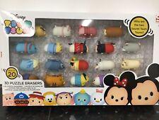 Disney's TSUM TSUM 20 Pack Stackable Eraser Figures 3D Puzzle erasers. *new*