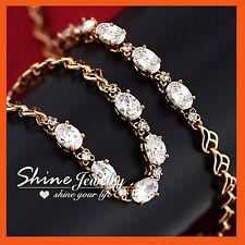 18K Rose GOLD GF INFINITY CHAIN SOLID SIMULATED DIAMOND tennis BANGLE BRACELET