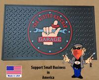 "Garage Door Floor Mat Busted Knuckle Rubber 25""x15"" Made in USA"
