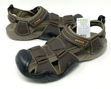 Crocs Swiftwater Leather Fisherman Sandals Mens Size 11, 13 Espresso NEW