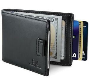 Genuine Leather RFID Blocking Bifold Mens Slim Minimalist Wallet with Money Clip