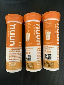 LOT OF 3 Nuun Immunity: Orange Citrus Enhanced Hydration Tablets Exp. 5/21