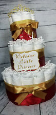 3 Tier Diaper Cake - Red and Gold Custom Princess Theme Diaper Cake
