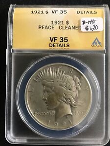 1921 High Relief $1 Silver Peace Dollar ANAC VF 35 Details Cleaned