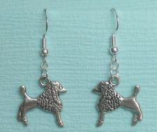 with .925 Sterling silver Handcrafted Poodle Dog pierced double sided earrings