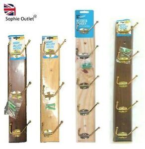 STRONG WOODEN WALL COAT HANGER Hangers Clothes Pine Wood Rack Hooks Peg Pegs UK